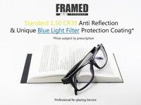 Glasses In-House Reglazing Service Blue Light Filter 1.50 Single Vision Anti Glare Scratch Resistant