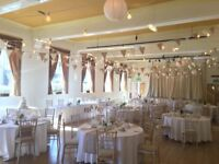 Bunting - vintage rustic style - hessian, white cotton and lace