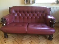 2 x 2 seater leather settees. Burgundy in colour. Excellent quality items and very good condition.