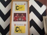 Signed framed giggs scholes captains armbands