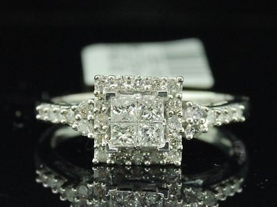 Diamond Engagement Ring Ladies 14K White Gold Princess Cut Halo Design 0.48 Tcw.
