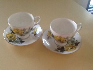 TWO QUEEN ANNE BONE CHINA TEA CUPS AND SAUCERS Richardson Tuggeranong Preview