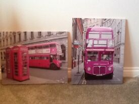Pink Pictures X 3 - ideal for girls bedroom