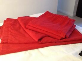 Matching (washable)red curtains- 2 pairs