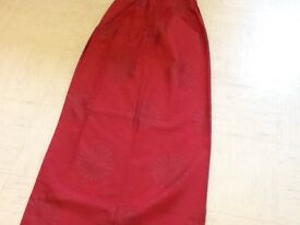 """Curtains 54"""" drop with tie backs and cushion cover in red"""