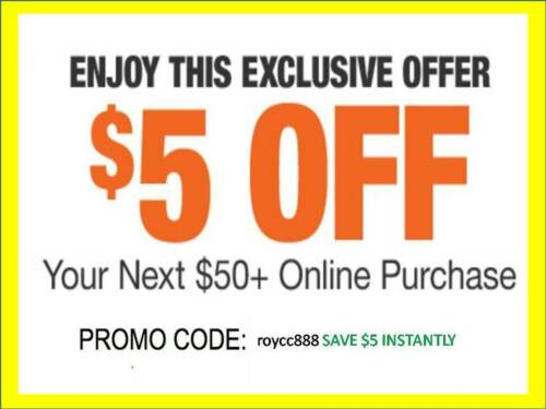 Home Depot Coupon $5 OFF $50 [Online-Use Only] --Very-FAST_SENT---