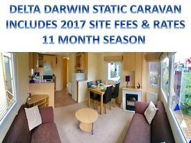 STATIC CARAVAN FOR SALE ON NORFOLK COAST, 2017 SITE FEES & RATE INC. NR GREAT YARMOUTH & BROADS