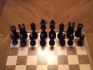 Hand-crafted wooden chess set