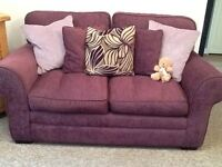 2 X 2 seater sofa In Mulberry. REDUCED QUICK SALE NEEDED