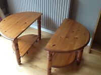 Side tables, 2 matching solid pine