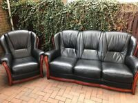 leather 3 seater and chair in black