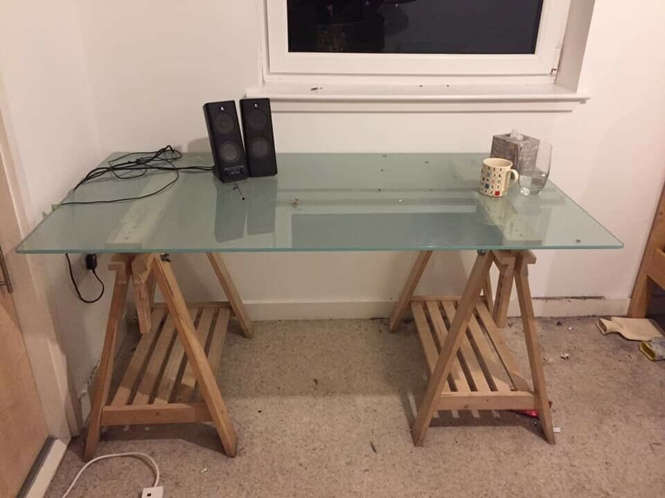 Ikea Finnvard Desk Wood With Glass Top And Shelves In Leith