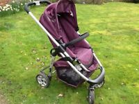 iCandy Cherry Pushchair in Mulberry with rain cover.