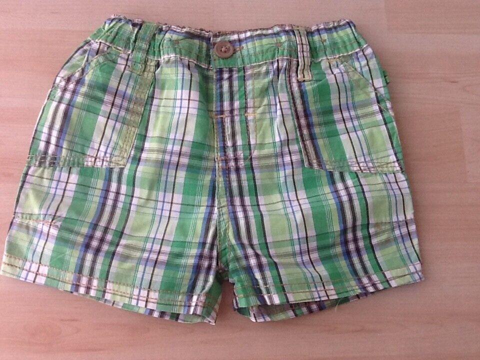 Jungen Baby Shorts Gr.74 Ergee kariert grün/weiß Sommer kurze Hose Super leicht!