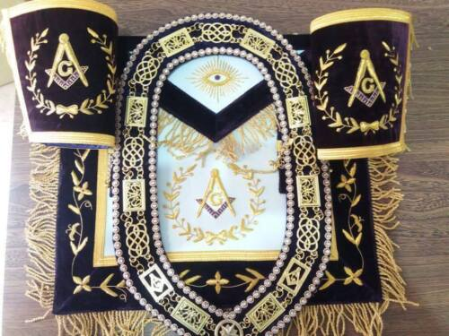 MASONIC GRAND LODGE MASTER MASON APRON, CUFFS with CHAIN COLLAR