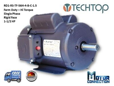 1.5 Hp Electric Motor Farm Duty 1800rpm Single Phase 56h Rigid-face