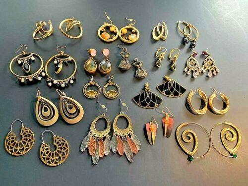 Vintage Pierced Earrings Gold Tone Dangle Rhinestone KCR Enamel Glass Lotus Flow