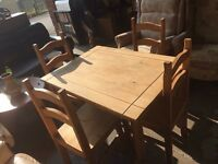 Mexican pine table and 4 chairs