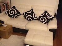 3 seater leather sofa, footstool and one chair