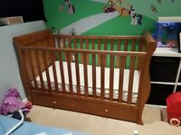 John Lewis Martha Sleigh Cot Bed incl. mattress and bed guard