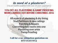 15% off all plastering & damp proofing - Christmas Special