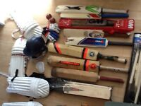 Job lot of cricket equipment with helmet and gloves
