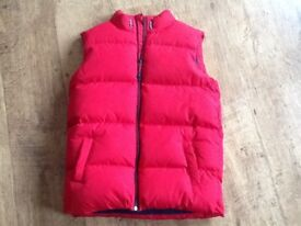 RED PADDED SLEEVLESS BODYWARMER(GILETT)AGE 13-14 YEARS WITH WARM LINING FROM M&S EXCELLENT CONDITION
