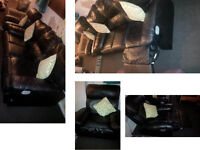 DFS Beautiful black leather 3 seater reclining sofa with matching reclining chair DETAILS BELOW