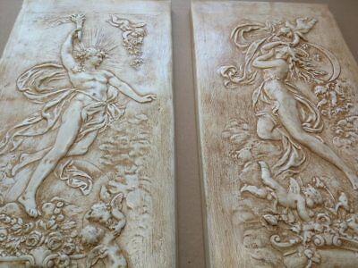 2 x Relief Götter Griechische Flachrelief Greek Stuck gips Wandrelief Bilder