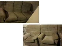 LOVELY AND COMFY AND CHUNKY G PLAN BEIGE FABRIC 3 SEATER SOFA AND 2 CHAIRS ALL COVERS REMOVEABLE