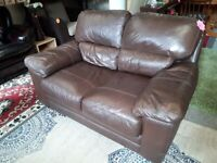 Small brown leather sofa Copley Mill LOW COST MOVES 2nd Hand Furniture STALYBRIDGE SK15 3DN