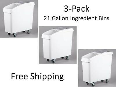 3-pack 21 Gallon White Mobile Nsf Restaurant Floor Ingredient Bins With Lids