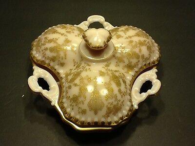 Elegant Depression Glass Cambridge Rose Point 3500/57 Crown Tuscan 3 Part Candy