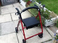 MOBILITY WALKER ROLATER 4 WHEEL BRAKES SEAT
