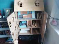 LARGE 3 STORY DOLLS HOUSE with Furniture unfinished project