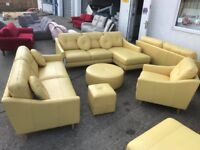 Leather suite to include chaise sofa, 3 seater, Armchair and 2 x Footstools