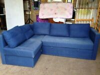 Blue Fabric Corner Sofa Bed