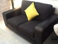 Leather and chenille 2 seater sofa and footstool