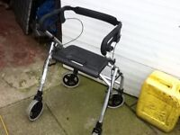 MOBILITY WALKER 4 WHEELED WITH BRAKES AND SEAT