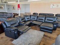 Black leather modular recliner corner sofa