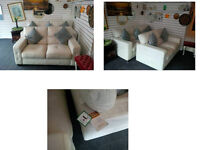 ULTIMATE COMFORT BY AMX DESIGN 3 SEATER AND 2 SEATER WHITE SOFAS SEE PICS AND SIZE BELOW