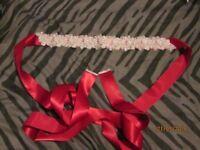 Elegant Pearls Beaded Waistband Belt Wedding Dress Belt Bridal Sash Red BRAND NEW IN BOX