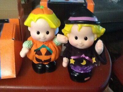 "Fisher Price Lot 2 Little People Halloween Eddie Pumpkin Sarah Witch 7"" Figure"