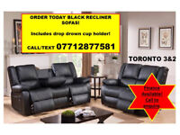 3 + 2 recliner sofa in black