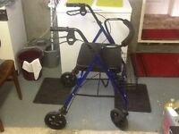 Walking aid. Day's heavy duty four wheeled folding mobility walker