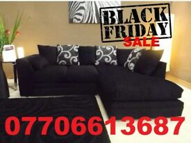 BLACK FRIDAY DEAL-BLACK/GREY FABRIC CHENILLE SWIIRL CORNER SOFA + DELIVERY