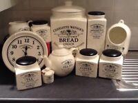 Charlotte Watson cream range assorted kitchen ware and storage jars selection