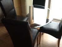 Glass & Oak round dining table with 4 chairs