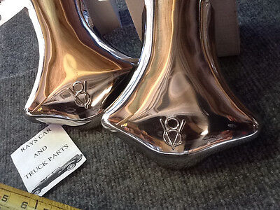 NEW PAIR OF STAINLESS STEEL EXHAUST V-8 TIPS FOR THE FORD CARS AND TRUCKS !