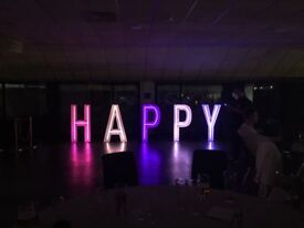 Giant neon letters for parties and weddings